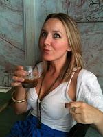 Kristin enjoys a signature brunch coffee cocktail at Los Feliz.