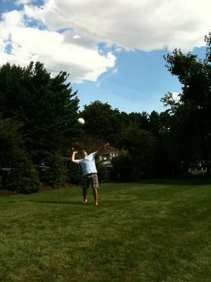 Tim attempts yet another ace.
