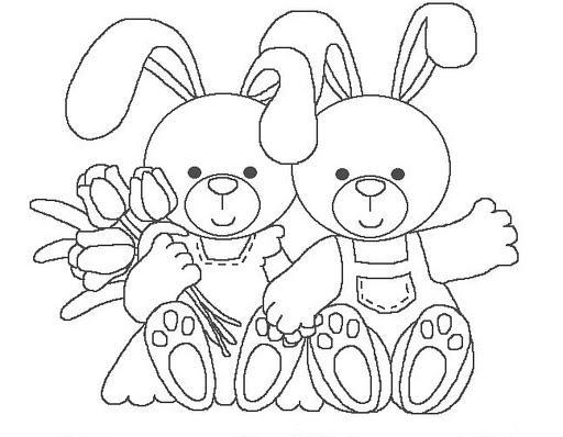 Dibujos para colorear: Dibujos para colorear - Conejitos con flores