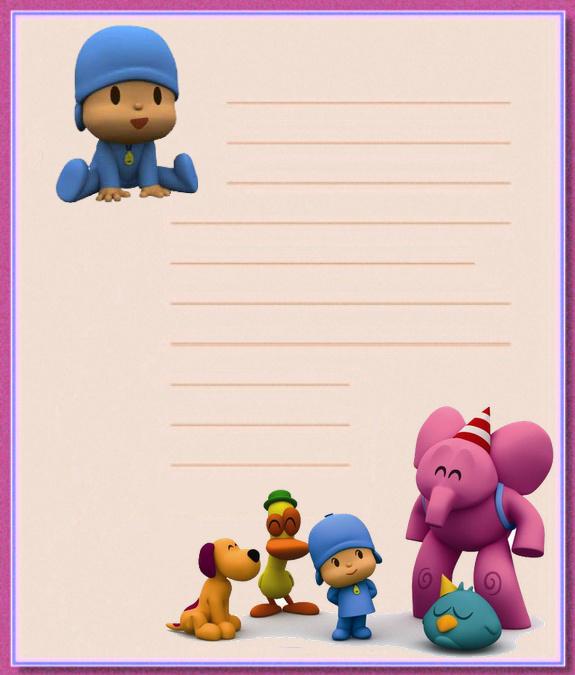 Papel de carta infantil: Papel de carta de Pocoyo