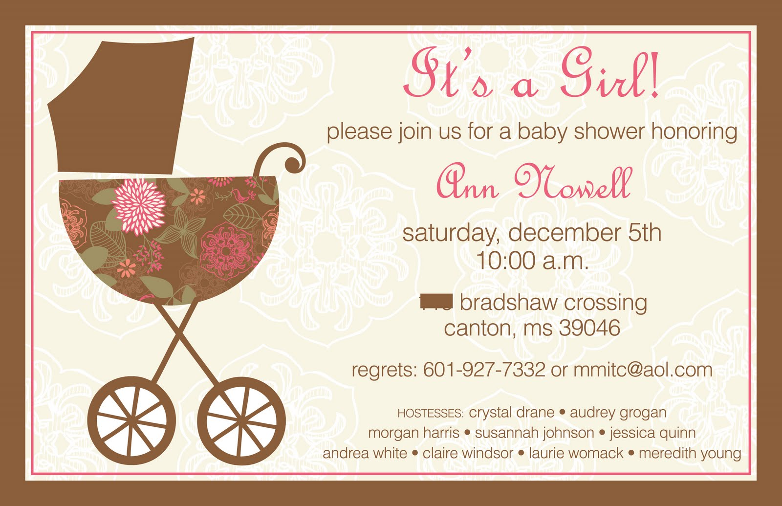 M. Young Designs: Pink and Brown Baby Shower Invitation
