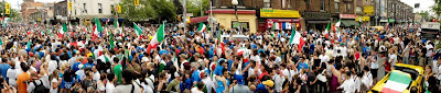 Italy wins World Cup 2006 Toronto College Street panorama