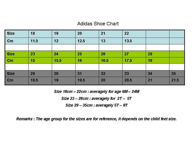 adidas shoes size chart k k sound