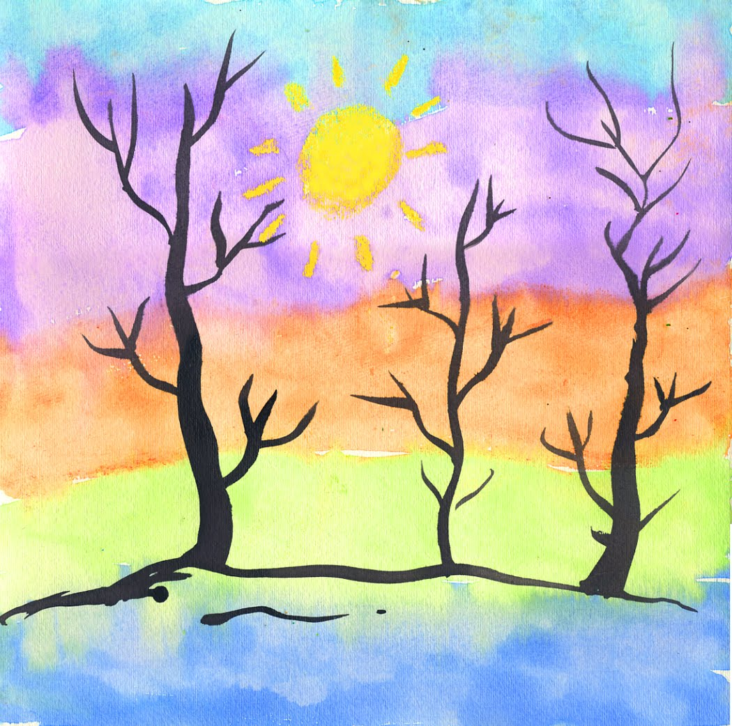 Thick and thin trees art projects for kids for Simple watercolor paintings for kids