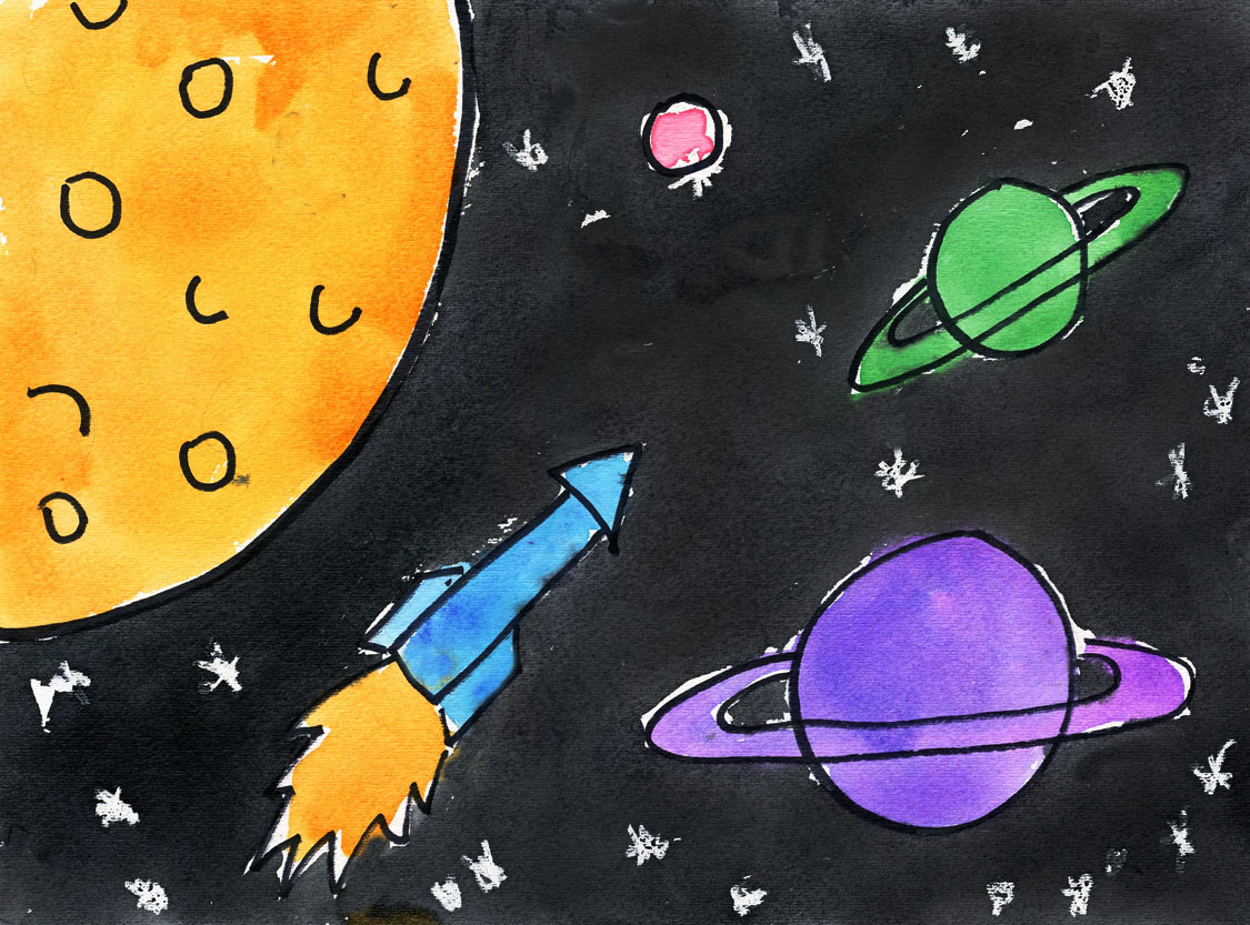 Outerspace watercolor painting art projects for kids for Outer painting design
