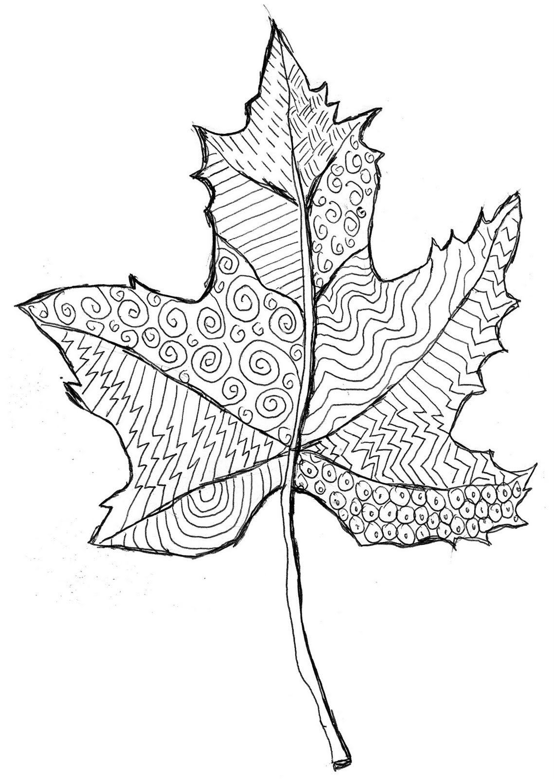 Line Art Patterns : Line pattern leaf art projects for kids
