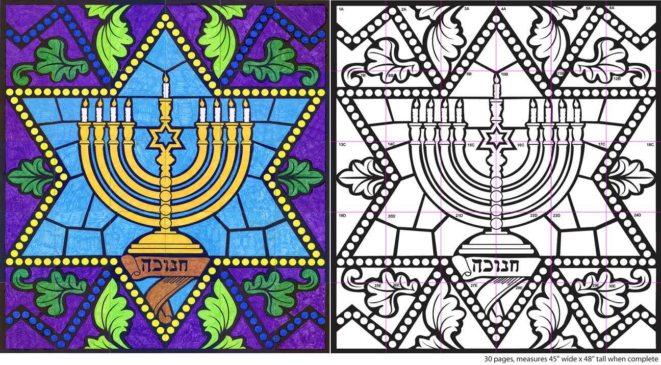 Stained Glass Menorah Hanukkah