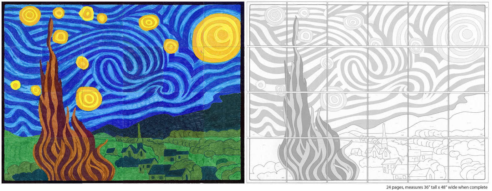 Starry night mural diagram art projects for kids for Mural van gogh