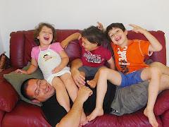 Aviv, Sivan and Nir with dad -- אביב, סיון וניר עם אבא