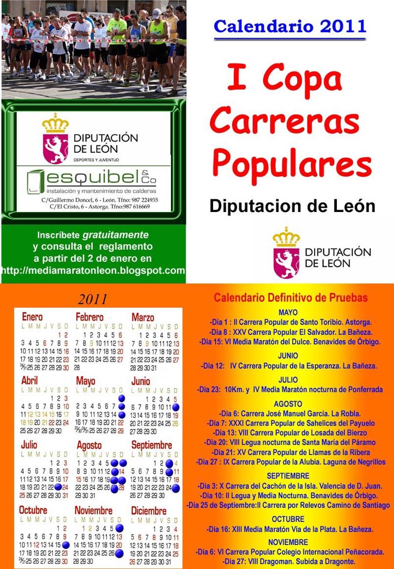 "I Copa de Carreras Populares ""Diputación de León"" Calendario_2011"