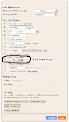 fitur share button pada blogger