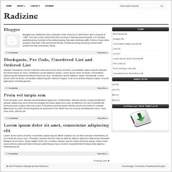 free blogger template Radizine blogspot template