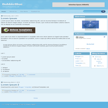 free blogger template BubbleBlue blogspot template