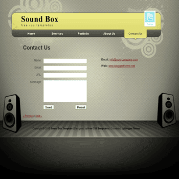 free blogger template convert CSS template to blogger Sound Box blogger template