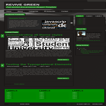 free blogger template Revive Green Blogger Template