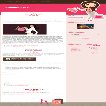 free blogger template Shopping Girl blogspot template