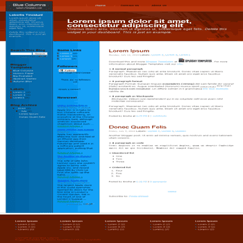 Blue Columns free blogger template converted from css to blogger template with 3 column blogger template