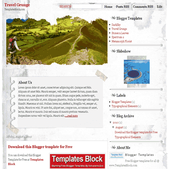 Travel Grunge free blogger template converted from wordpress theme to blogger with magazine style and image slideshow grunge blogger template