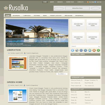 Rusalka free blogger template converted from wordpress template to blogger template with slideshow blogger template