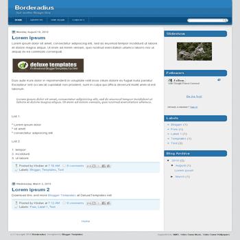 Borderadius free blogger template with 3 column blogger template