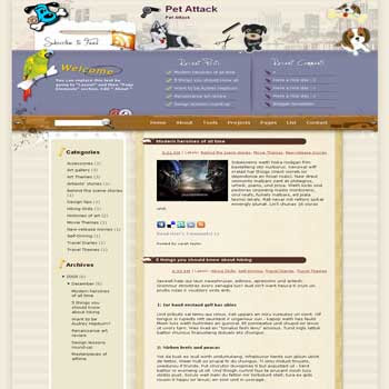 Pet Attack free blogger template converted WordPress to Blogger