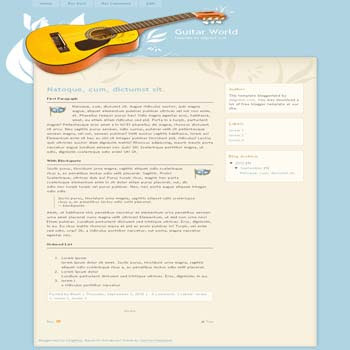 GuitarWorld free blogger template adapted from wordpress theme to blogger template with 2 column blogger template