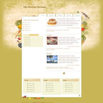 Mis Recetas Secretas blogger template for recipes and cooking blog template