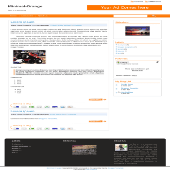 free minimal orange blogger template
