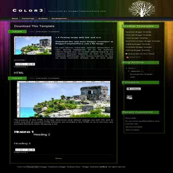 free free color3 blogger template converted from wordpress theme to blogger template