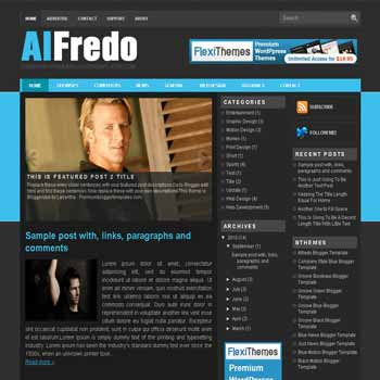 free Alfredo blogger template magazine style adapted from wordpress theme to blogger template with pagination for blogger ready