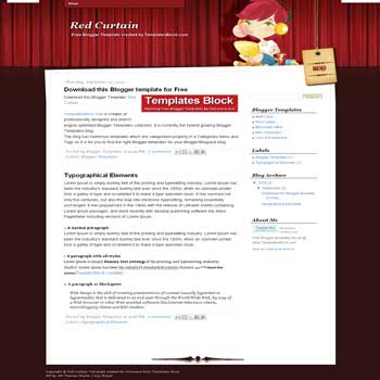 free Red Curtain blogger template converted from wordpress theme to blogger for girly blogger template