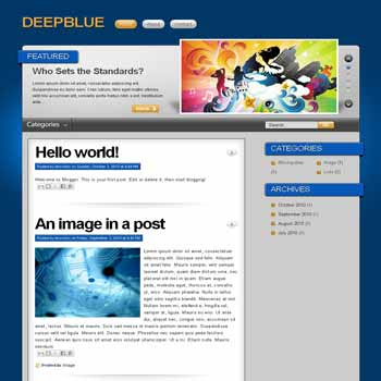 DeepBlue blogger template convert from wordpress theme to blogger with featured content template and pagination for blogger ready