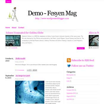 Fesyen Mag blogger template convert from wordpress theme to blogger with template blog magazine style, 3 column footer template also pagination for blogger ready