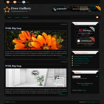 Free Gallery blogger template for photo and gallery blogs