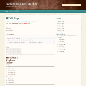 free fabiano blogger template converted from wordpress theme to blogger template with 4 column footer templates