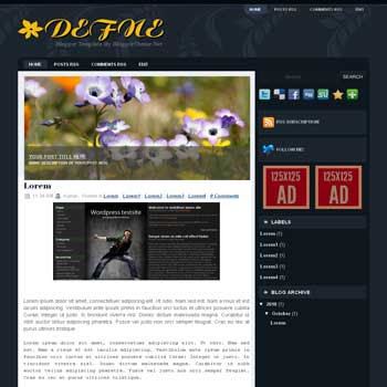 Defne blogger template convert wordpress theme to blogger template with image slideshow template