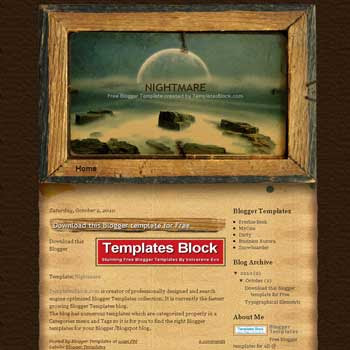 free Nightmare blogger template converted from wordpress theme to blogger template