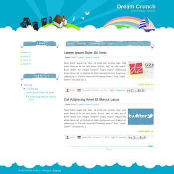 Dream Crunch blogger template with simple and beautiful blog template background