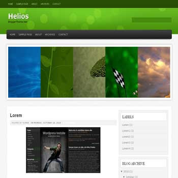 Helios blogger template convert wordpress theme to blogger template with image slideshow menu and 4 column footer blogger template