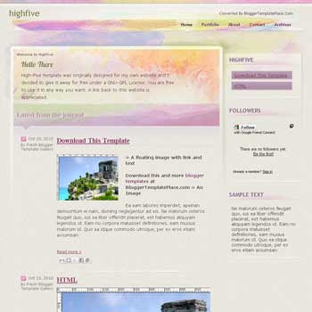 High Five blogger template converted from css template to blogger template with art floral background template