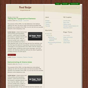 Food Recipe blogger template converted from wrdpress theme to blogger template for recipes or cooking blog template