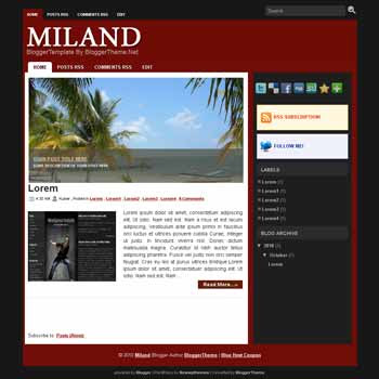 Miland blogger template convert wordpress theme to blogger template with image slideshow blog templates