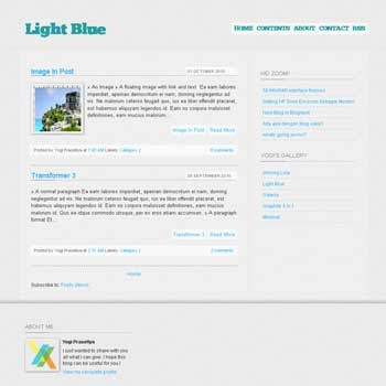 Light Blue blogger template with 2 column blogger template, clean blogger template and 3 column blogger template. 3 column footer template blogspot