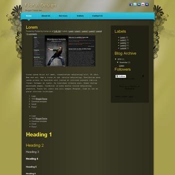 Floral Design blogger template convert css template to blogger template with 3 column template blog. css template to blogspot template. 3 column blogspot template