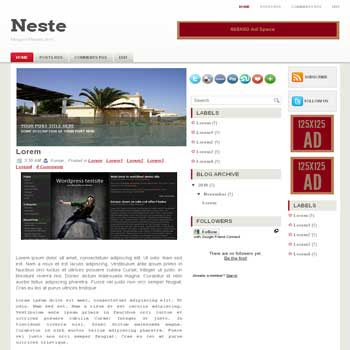 Neste blogger template convert wordpress theme to blogger template. 3 column blogger template. image slideshow blogger template