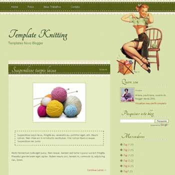 Knitting blogger template beautiful blog template for green template blog