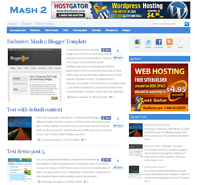 Mash 2 free blogger template with 3 column template and seo friendly template also template with pagination for blogger ready