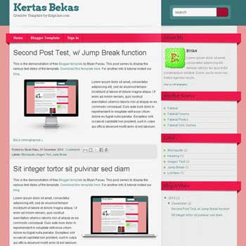 Kertas Bekas blogger template with 2 column blogger template
