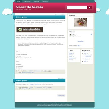 Under The Clouds blogger template with 3 column blogger template. 3 column blogspot template