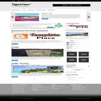 Ngawitan blogger template . convert wordpress theme to blogger. featured content template blog. 3 column footer template blog